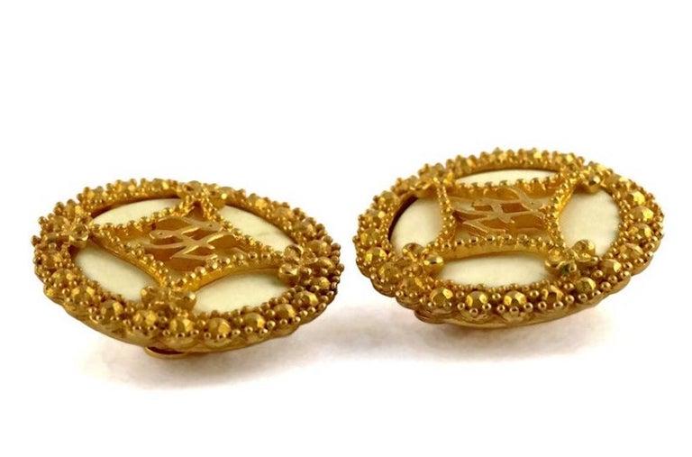 Women's Vintage KARL LAGERFELD Logo Ribbon Ceramic Earrings For Sale