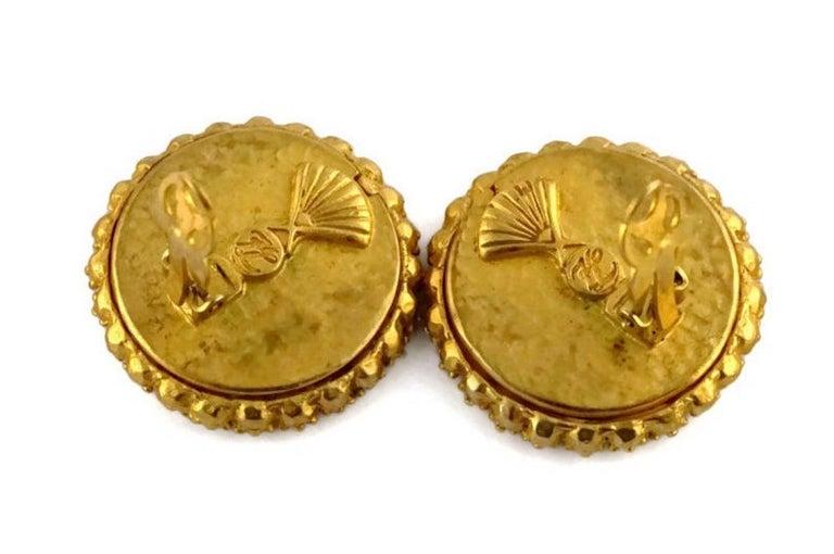 Vintage KARL LAGERFELD Logo Ribbon Ceramic Earrings For Sale 1