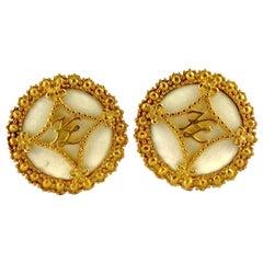 Vintage KARL LAGERFELD Logo Ribbon Ceramic Earrings
