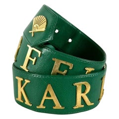 Vintage KARL LAGERFELD Logo Spelled Grain Leather Green Belt