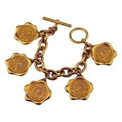 Vintage KARL LAGERFELD Logo Wax Seal Coin Medallion Charm Bracelet