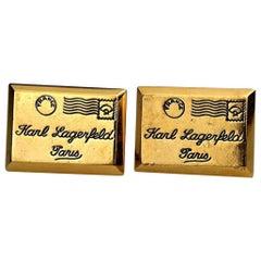 Vintage KARL LAGERFELD Mailing Address Postage Stamp Earrings