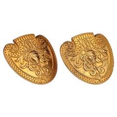 Vintage KARL LAGERFELD Medusa Shield Earrings