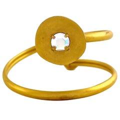 Vintage KARL LAGERFELD Modernist Spiral Rhinestone Cuff Bracelet