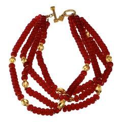 Vintage KARL LAGERFELD Multi Strand Beaded Choker Necklace