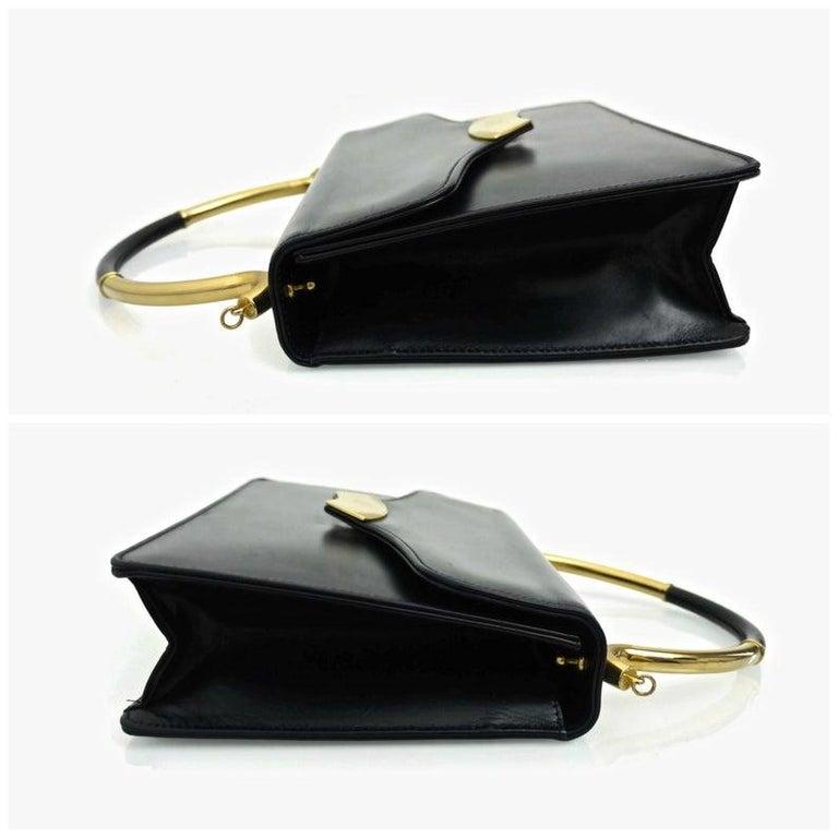 Black Vintage KARL LAGERFELD Navy Blue Kelly Bag For Sale