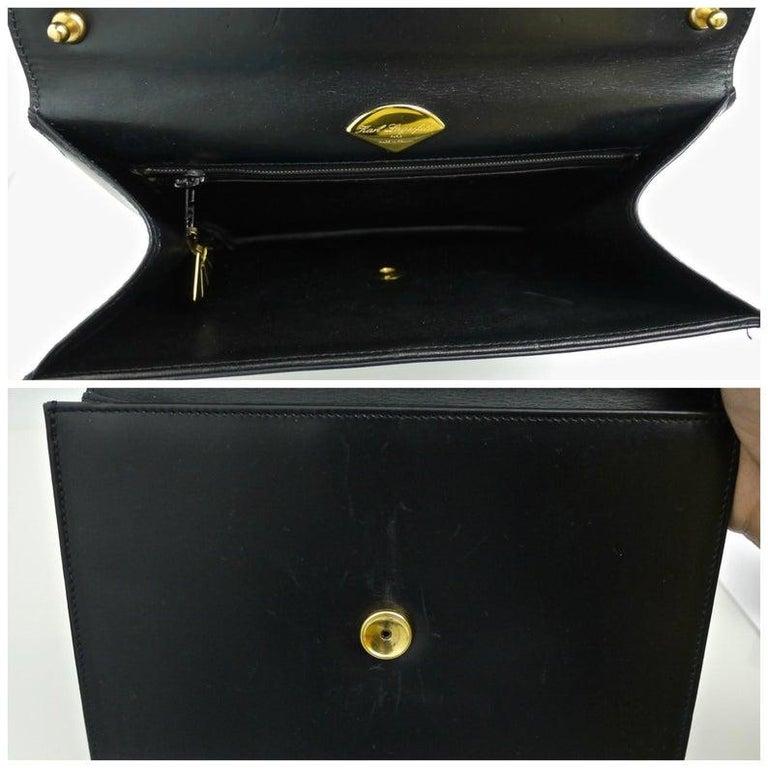 Women's Vintage KARL LAGERFELD Navy Blue Kelly Bag For Sale