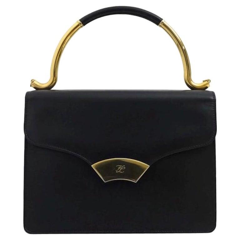Vintage KARL LAGERFELD Navy Blue Kelly Bag For Sale