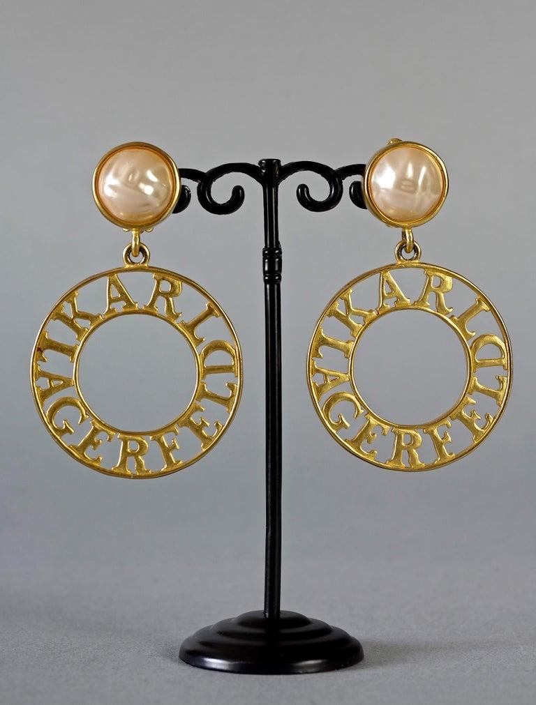 Women's Vintage KARL LAGERFELD Pearl Spelled Out Openwork Hoop Dangling Earrings For Sale