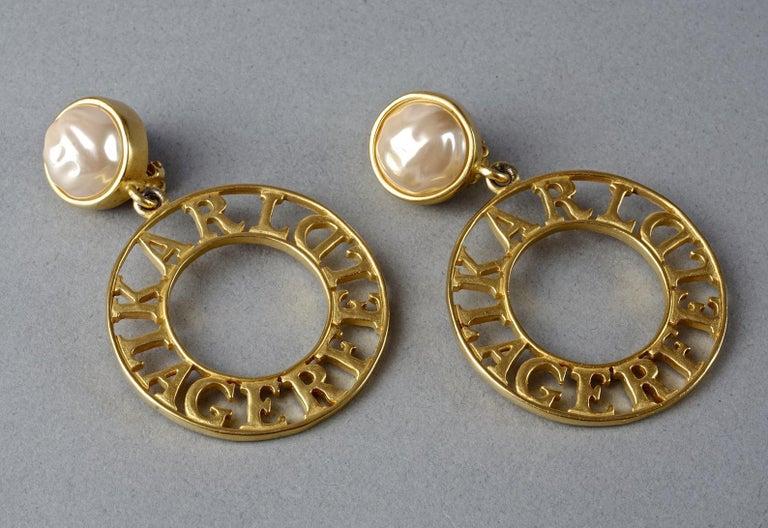 Vintage KARL LAGERFELD Pearl Spelled Out Openwork Hoop Dangling Earrings For Sale 1