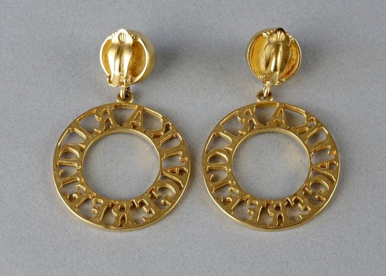 Vintage KARL LAGERFELD Pearl Spelled Out Openwork Hoop Dangling Earrings For Sale 5