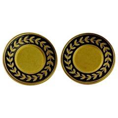 Vintage KARL LAGERFELD Plate Enamel Earrings