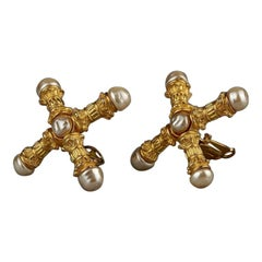 Vintage KARL LAGERFELD Roman Pillar Cross Pearl Earrings