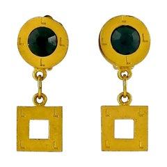 Vintage KARL LAGERFELD Sapphire Rhinestone Geometric Earrings