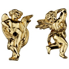 Vintage KARL LAGERFELD Sculptural Putti Cherubs Earrings
