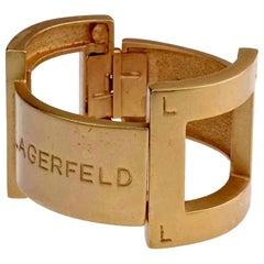 Vintage KARL LAGERFELD Spell Out Clamper Cuff Bracelet