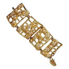 Vintage KARL LAGERFELD Spelled Out Pearl Flower Fence Wide Cuff Bracelet