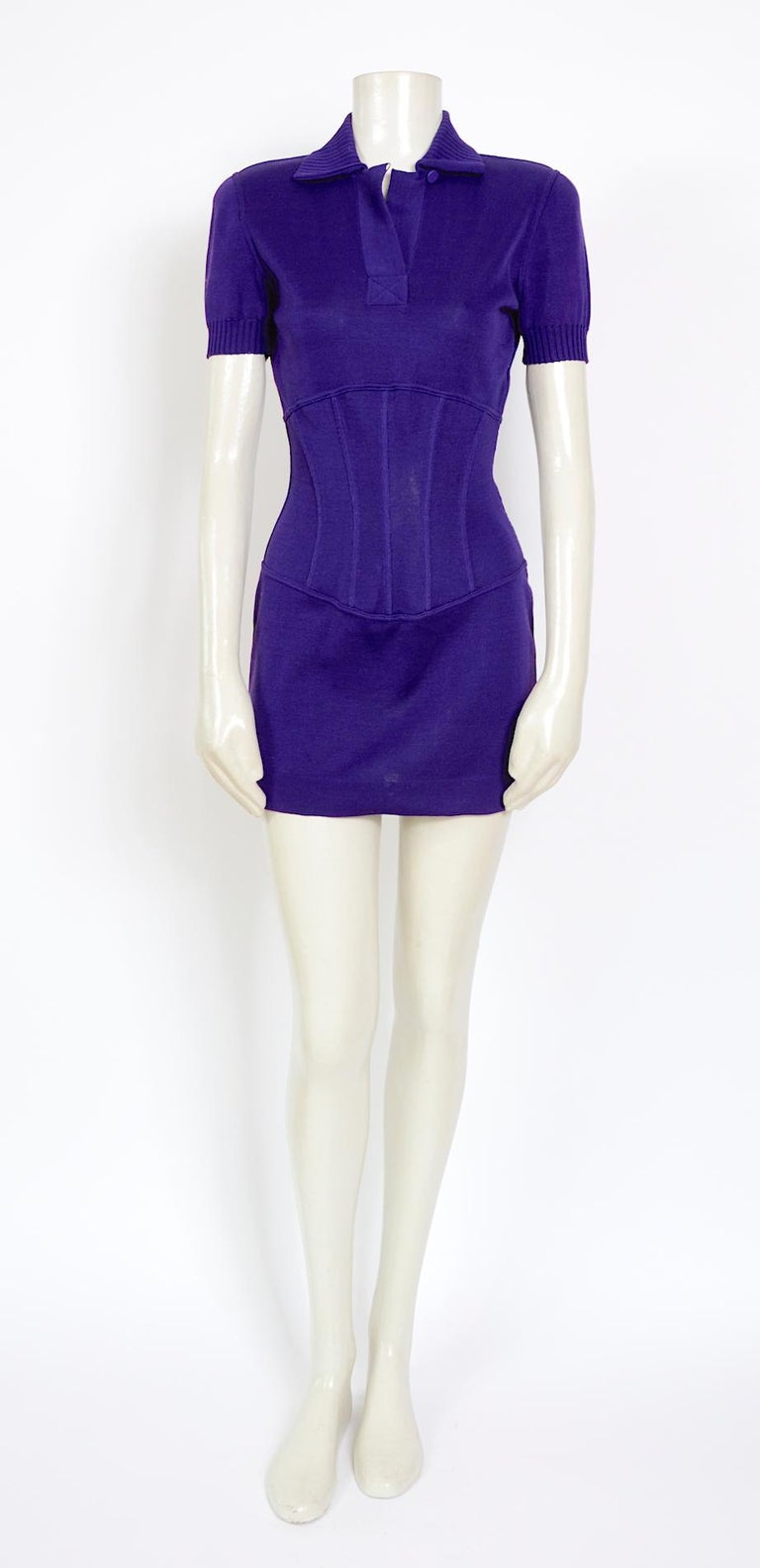 Beautiful vintage spring/summer 1995 cotton jersey corset mini dress by Karl Lagerfeld. Made in Italy - size 40  Measurements are taken flat: Sh to Sh 15inch/38cm - Ua to Ua 17inch/43cm(x2) - Waist 12inch/31cm(x2) - Hip 17inch/43cm(x2) - Total
