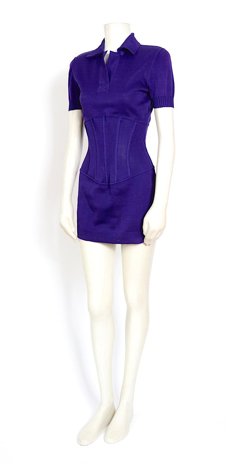 Vintage Karl Lagerfeld spring summer 1995 cotton jersey corset mini dress In Excellent Condition For Sale In Antwerp, BE