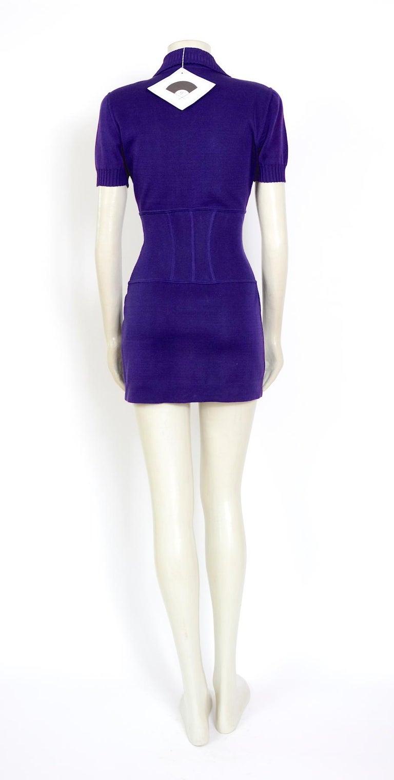 Vintage Karl Lagerfeld spring summer 1995 cotton jersey corset mini dress For Sale 1