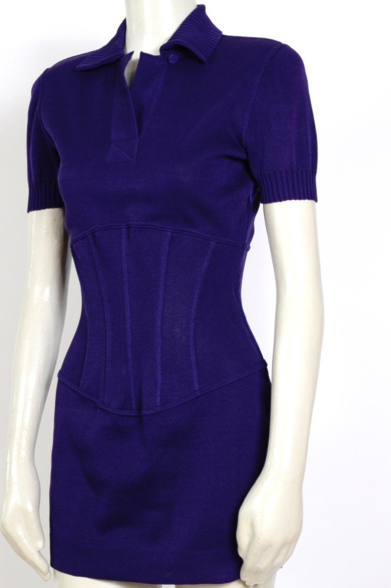 Vintage Karl Lagerfeld spring summer 1995 cotton jersey corset mini dress For Sale 2