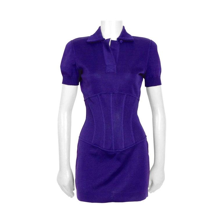 Vintage Karl Lagerfeld spring summer 1995 cotton jersey corset mini dress For Sale