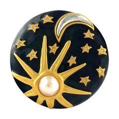 Vintage KARL LAGERFELD Sun Moon Stars Enamel Brooch