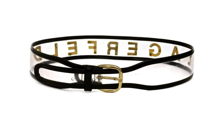 Women's or Men's Vintage KARL LAGERFELD Transparent Gold Letter Belt For Sale