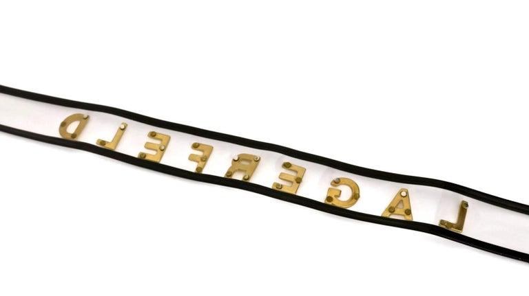 Vintage KARL LAGERFELD Transparent Gold Letter Belt For Sale 1