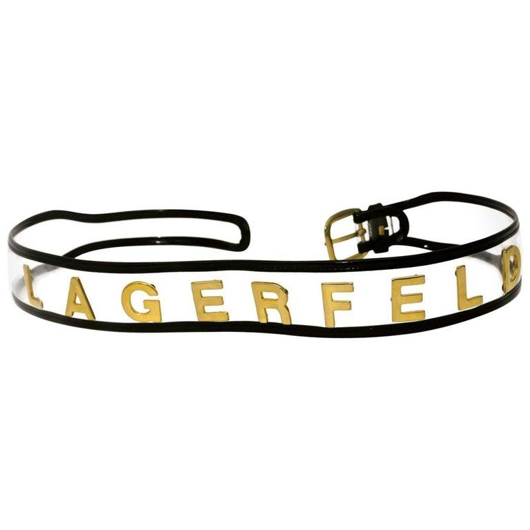 Vintage KARL LAGERFELD Transparent Gold Letter Belt For Sale