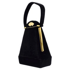 Vintage KARL LAGERFELD Trapezoid Velvet Box Hand Bag