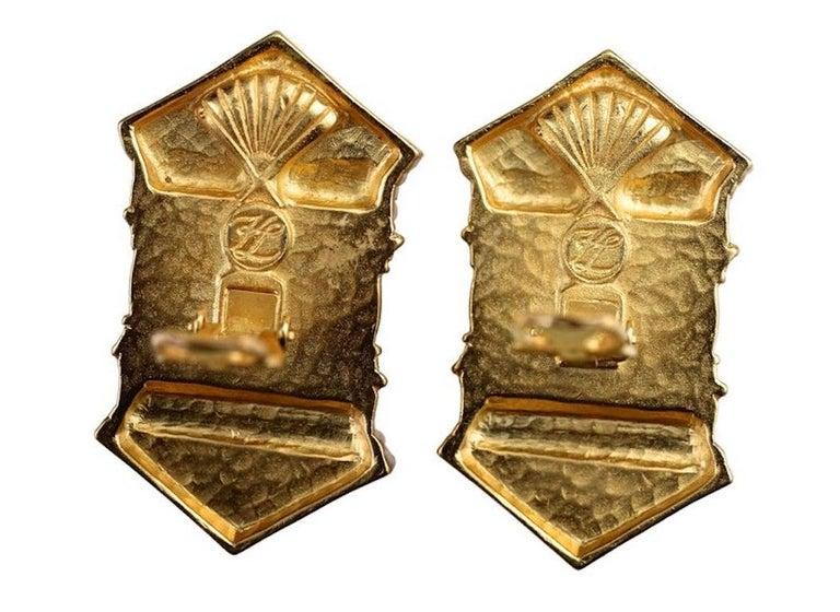Vintage KARL LAGERFELD Upside Down Greek Temple Door Earrings For Sale 6