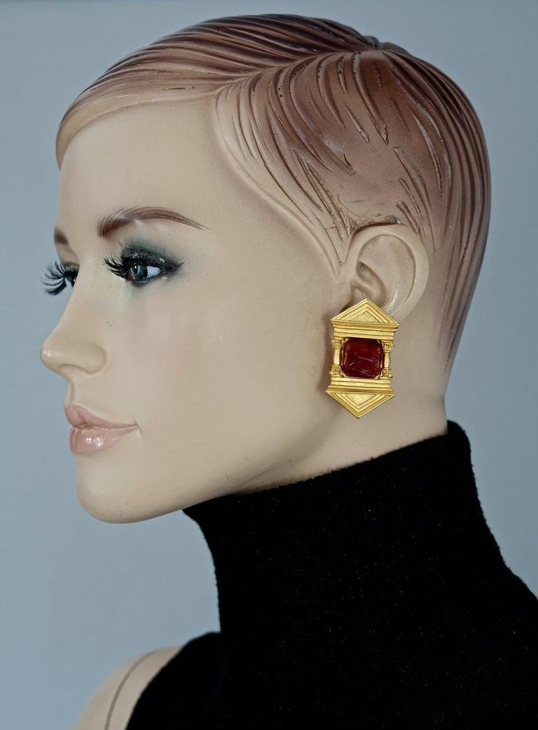 Vintage KARL LAGERFELD Upside Down Greek Temple Door Earrings  Measurements: Height: 1.85 inches (4.7 cm) Width: 1.06 inches (2.7 cm) Weight per Earring: 23 grams  Features: - 100% KARL LAGERFELD. - Upside down Greek temple door motif with glass
