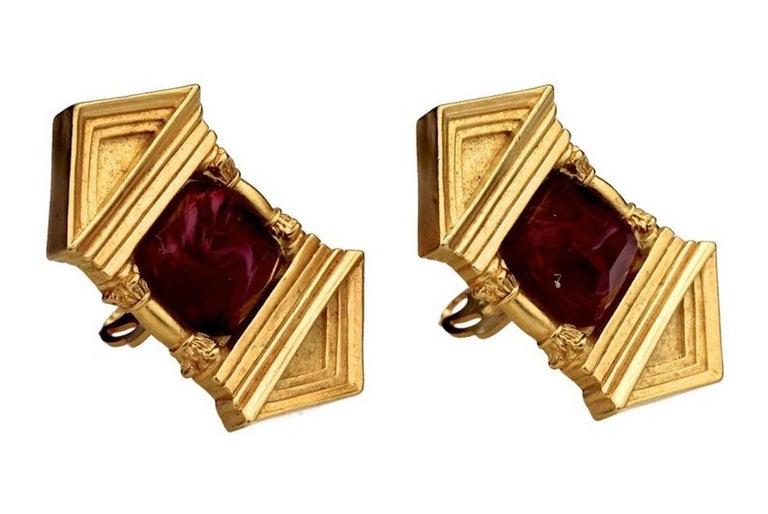 Women's Vintage KARL LAGERFELD Upside Down Greek Temple Door Earrings For Sale