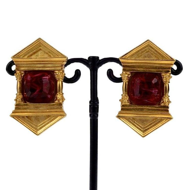 Vintage KARL LAGERFELD Upside Down Greek Temple Door Earrings For Sale 1
