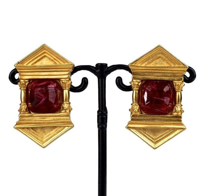 Vintage KARL LAGERFELD Upside Down Greek Temple Door Earrings For Sale 2