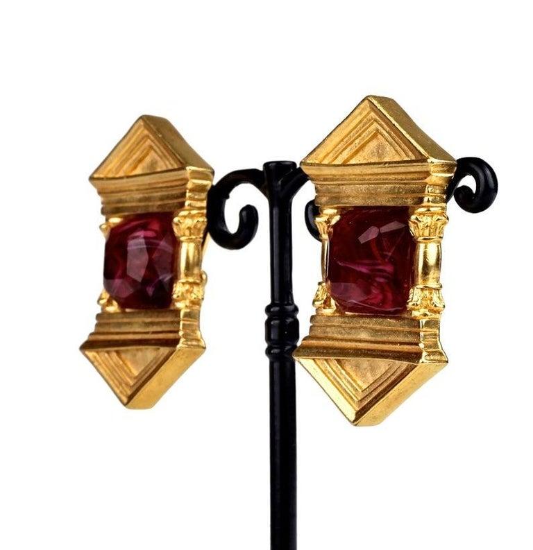 Vintage KARL LAGERFELD Upside Down Greek Temple Door Earrings For Sale 3