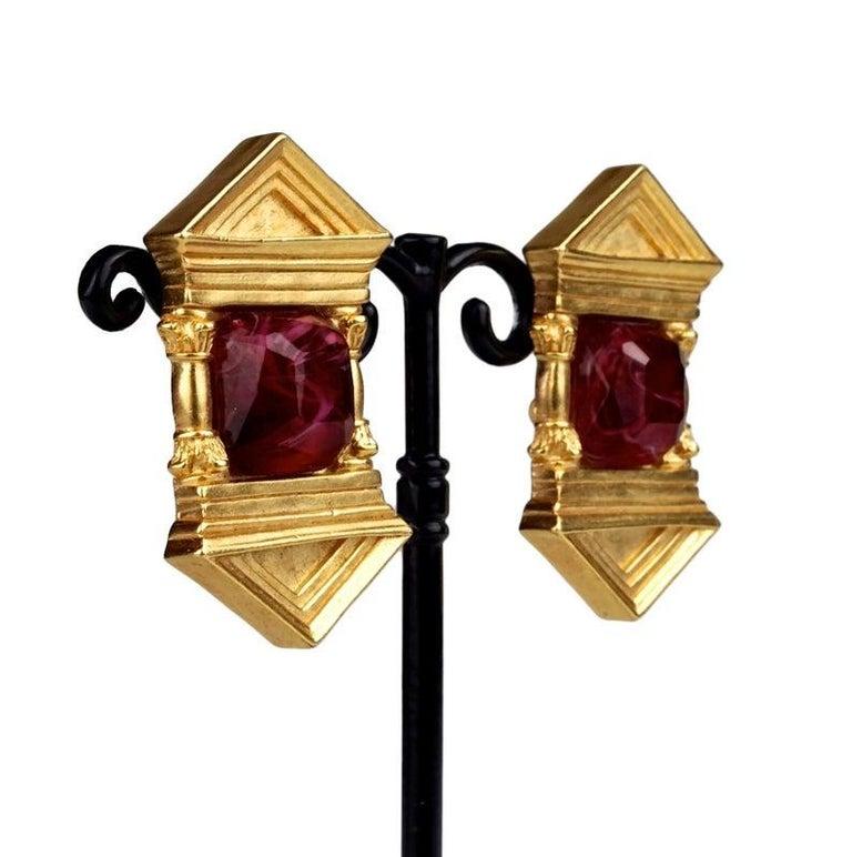 Vintage KARL LAGERFELD Upside Down Greek Temple Door Earrings For Sale 4