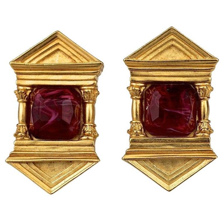 Vintage KARL LAGERFELD Upside Down Greek Temple Door Earrings For Sale