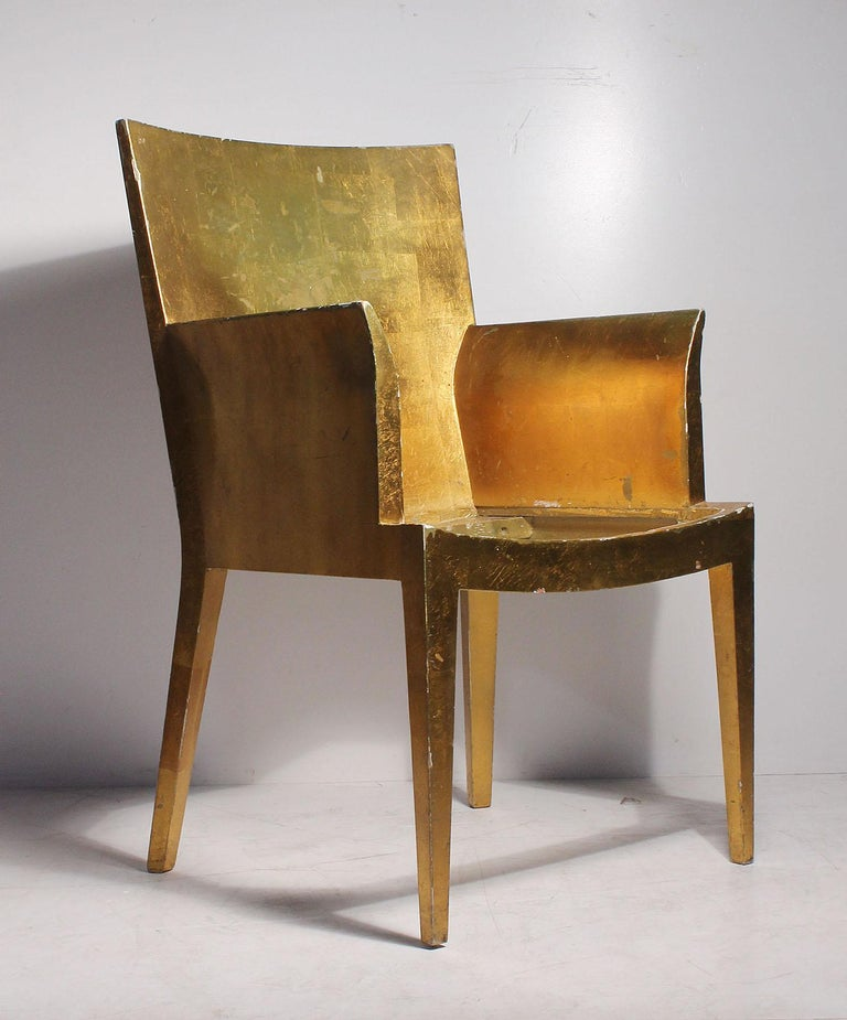 Beautiful Vintage Karl Springer style Chair by Jimeco. Designed by Enrique Garcel. Applied Gold Leaf shows some loss as it stands right now.