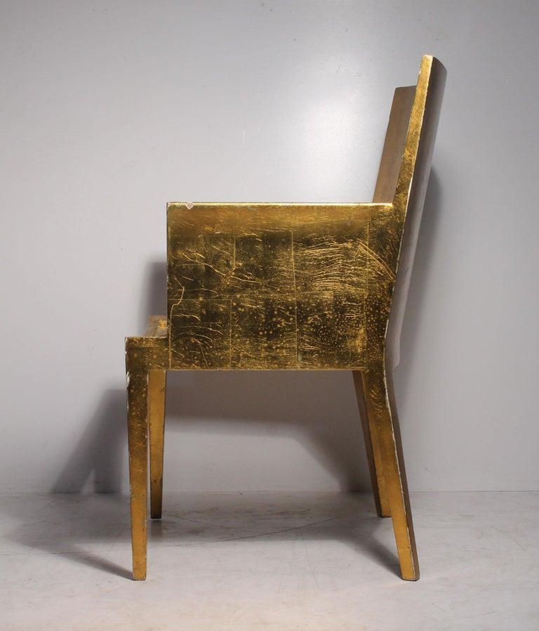 American Vintage Karl Springer JMF Armchair (Gilt) by Enrique Garcel for Jimeco For Sale