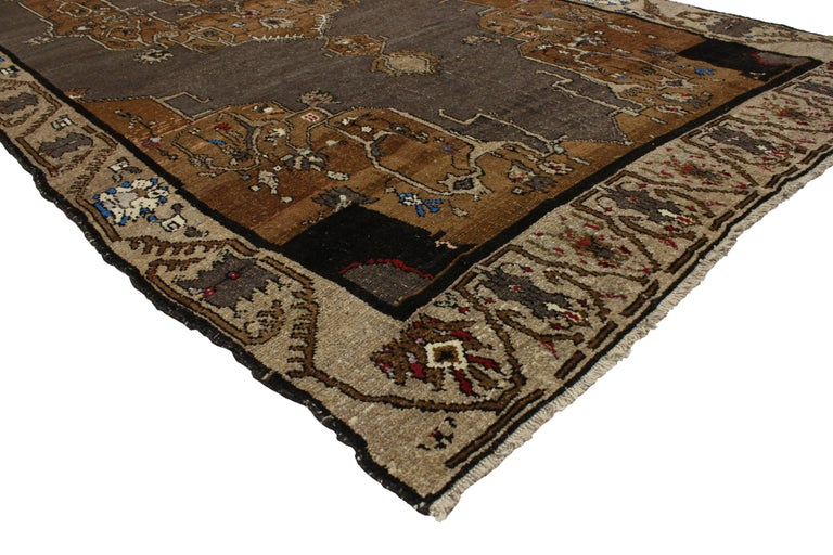 Turkish Vintage Kars Gallery Rug with Mid-Century Modern Style For Sale