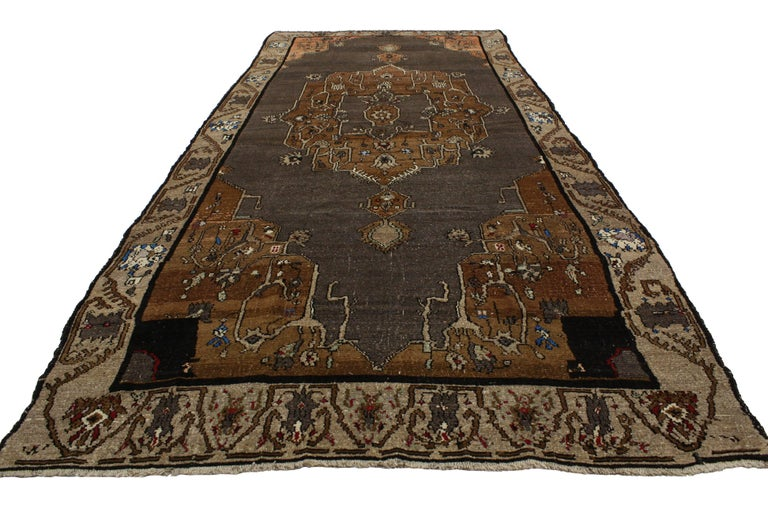 Hand-Knotted Vintage Kars Gallery Rug with Mid-Century Modern Style For Sale