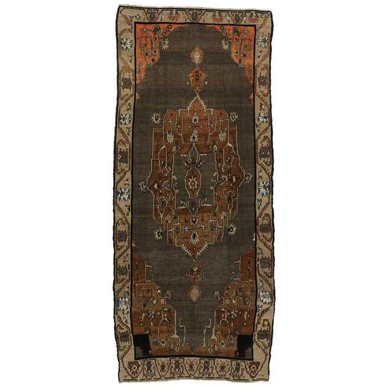 Vintage Kars Gallery Rug with Mid-Century Modern Style For Sale