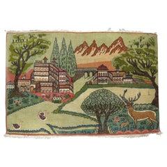 Vintage Kashan Pictorial Landscape Scenery Rug