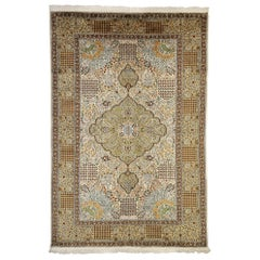 Vintage Kashmir Rug with Millefleurs and English Country Style