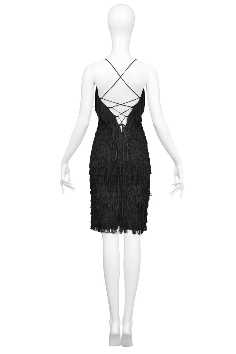 Vintage Katharine Hamnett Black Fringe Cocktail Dress In Excellent Condition For Sale In Los Angeles, CA