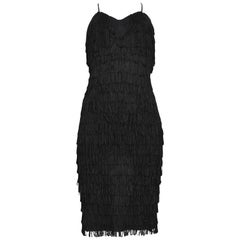 Vintage Katharine Hamnett Black Fringe Cocktail Dress
