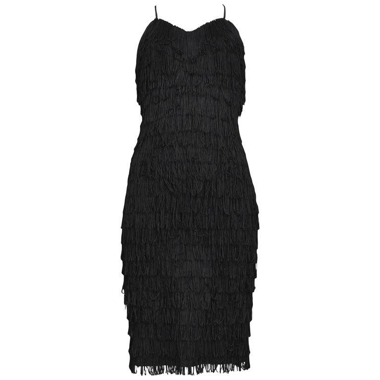 Vintage Katharine Hamnett Black Fringe Cocktail Dress For Sale
