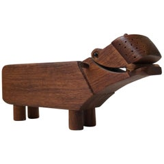 Vintage Kay Bojesen Hippopotamus in Oak, 1950s Desk Pencil Holder and Figurine